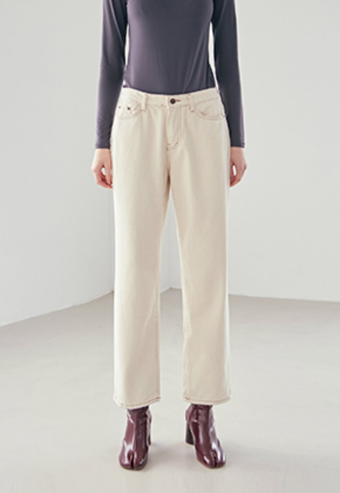 Nicknnicole닉앤니콜 LONG WIDE COTTON PANTS_OATMEAL