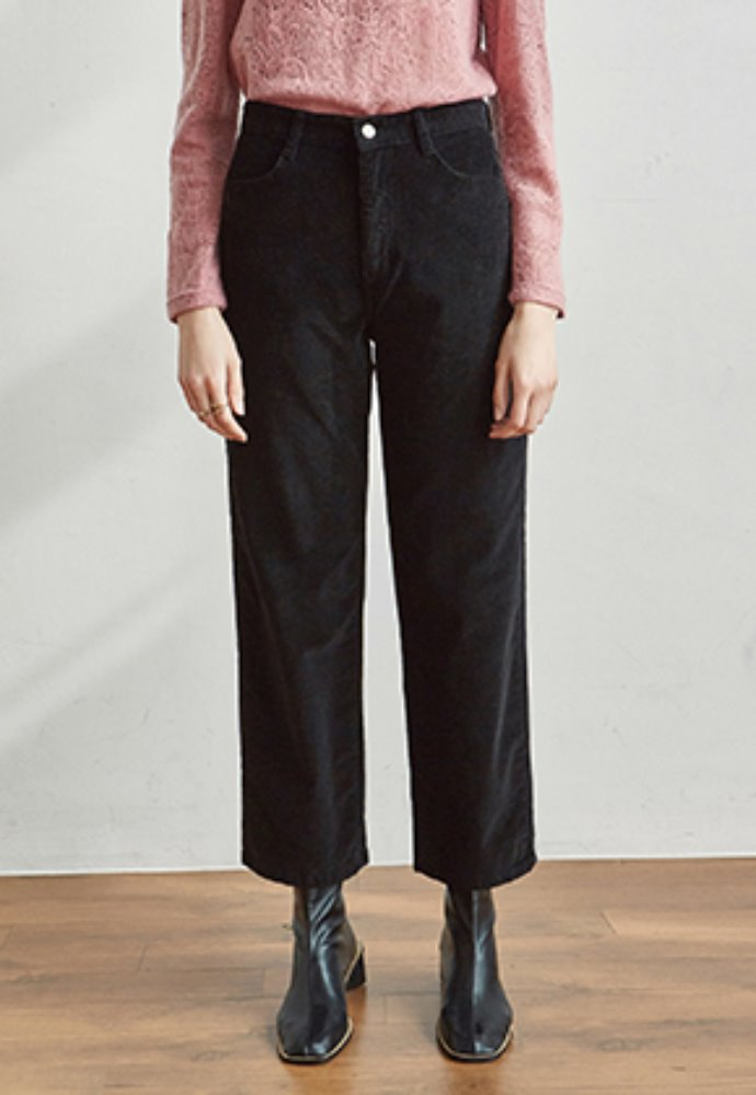 Yan13얀써틴 CORD SEMI WIDE PANTS_BLACK