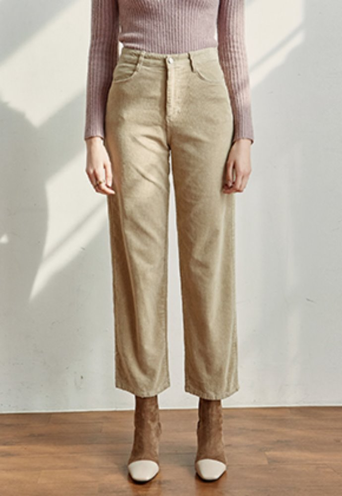 Yan13얀써틴 CORD SEMI WIDE PANTS_LIGHT BEIGE