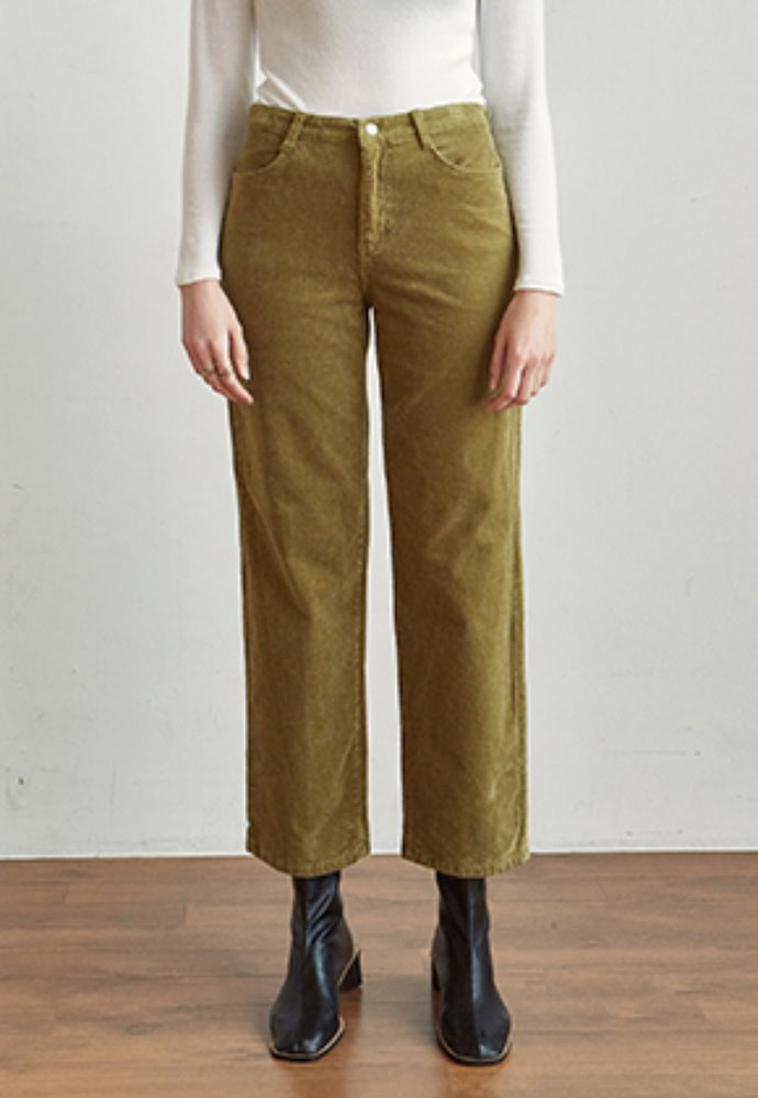 Yan13얀써틴 [11/29 (금) 예약발송] CORD SEMI WIDE PANTS_OLIVE