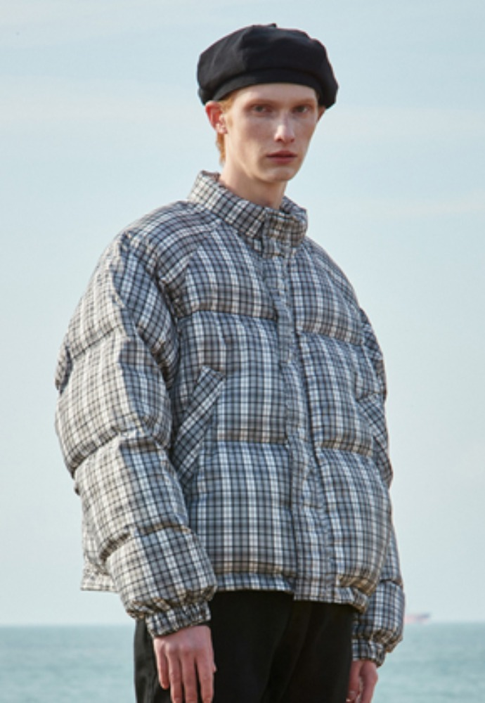 Voiebit브아빗 V660 DUCK DOWN HEAVY OVERSIZE CHECK PADDING JUMPER CHECK GRAY