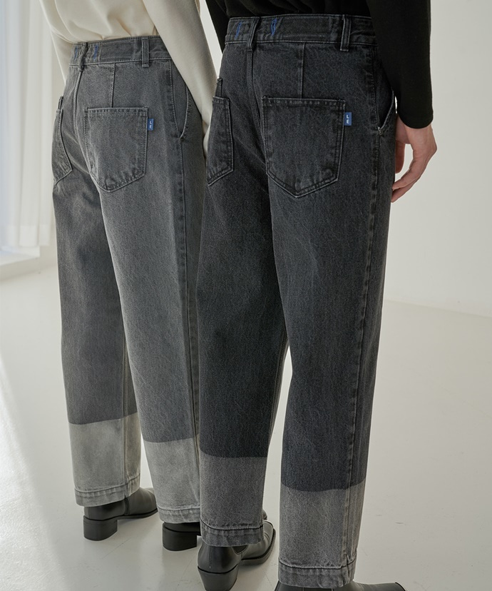 Trip LE Sens트립르센스 TWO-TONE BLACK DENIM PANTS_BLACK