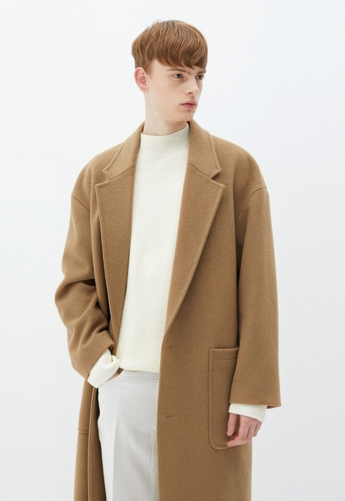 Garment lable가먼트레이블 Notched Lapel Long Coat - Beige