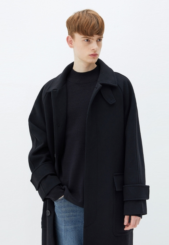 Garment lable가먼트레이블 Over Mac Coat - Black