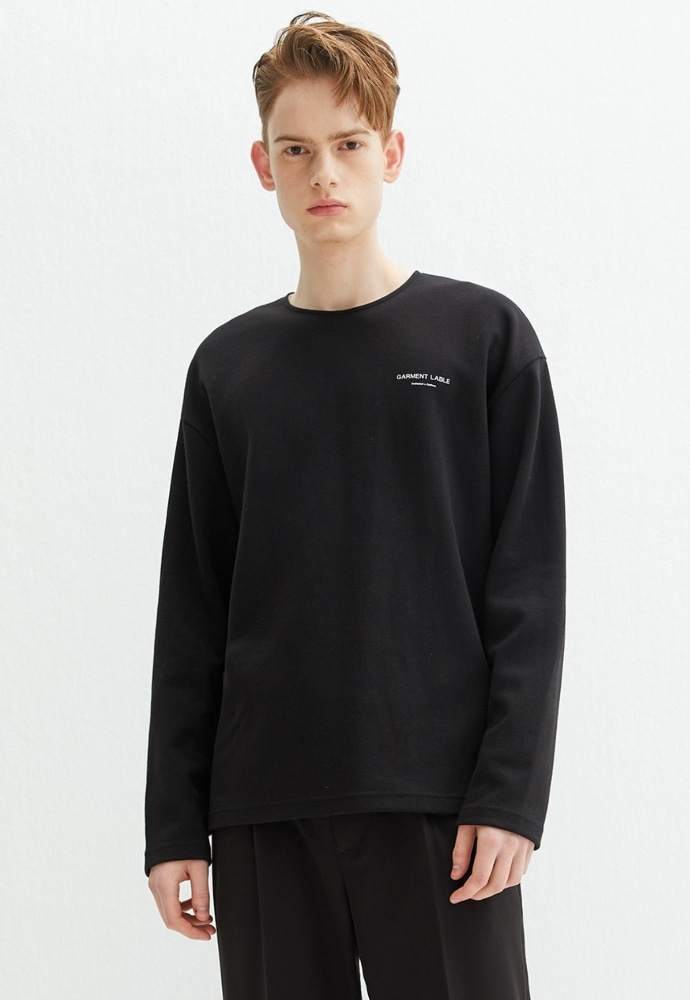 Garment lable가먼트레이블 Logo Long Sleeve Tee - Black