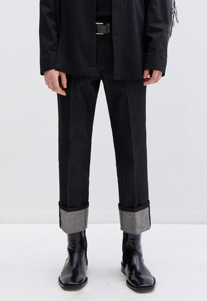 Garment lable가먼트레이블 Denim Roll-up Pants - Black