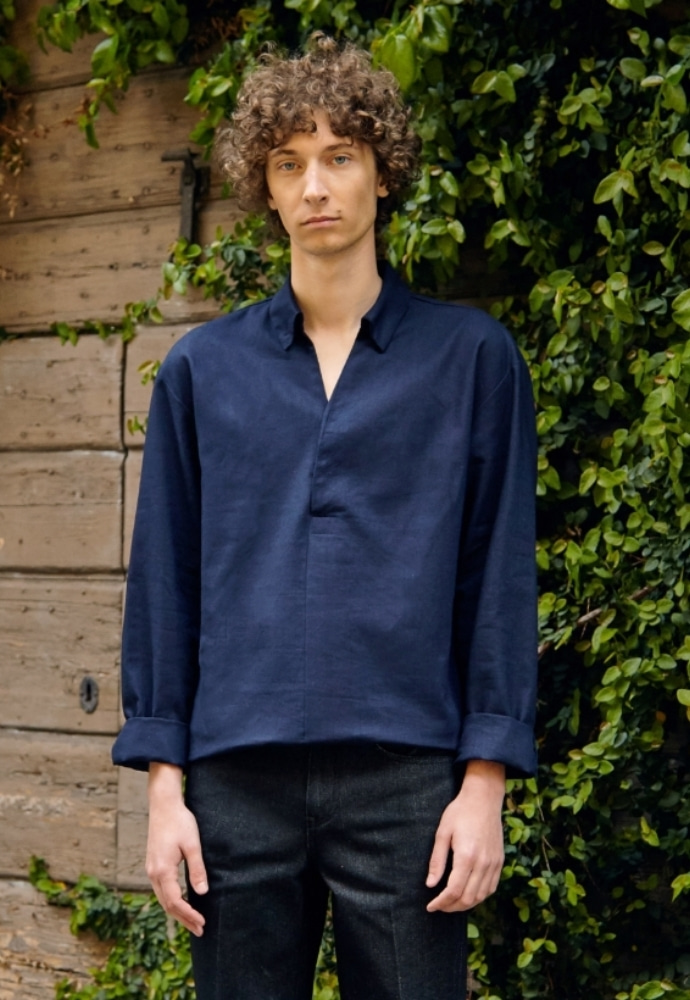 Garment lable가먼트레이블 Collar Tunic Shirts - Navy