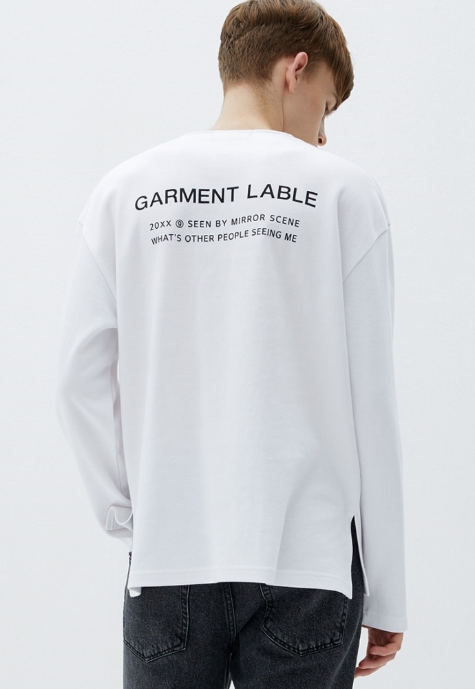Garment lable가먼트레이블 Logo Long Sleeve Tee - White