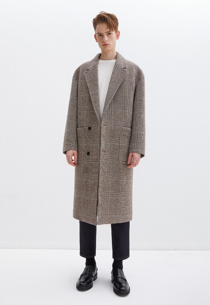 Garment lable가먼트레이블 Notched Lapel Long Coat - Check