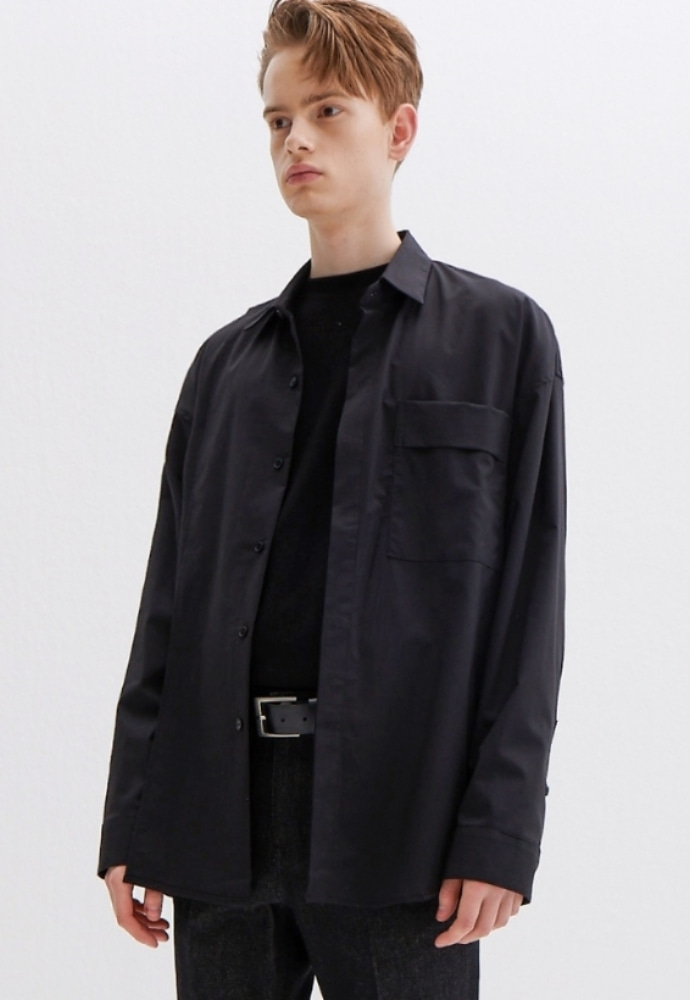 Garment lable가먼트레이블 Addition Over Shirt - Black