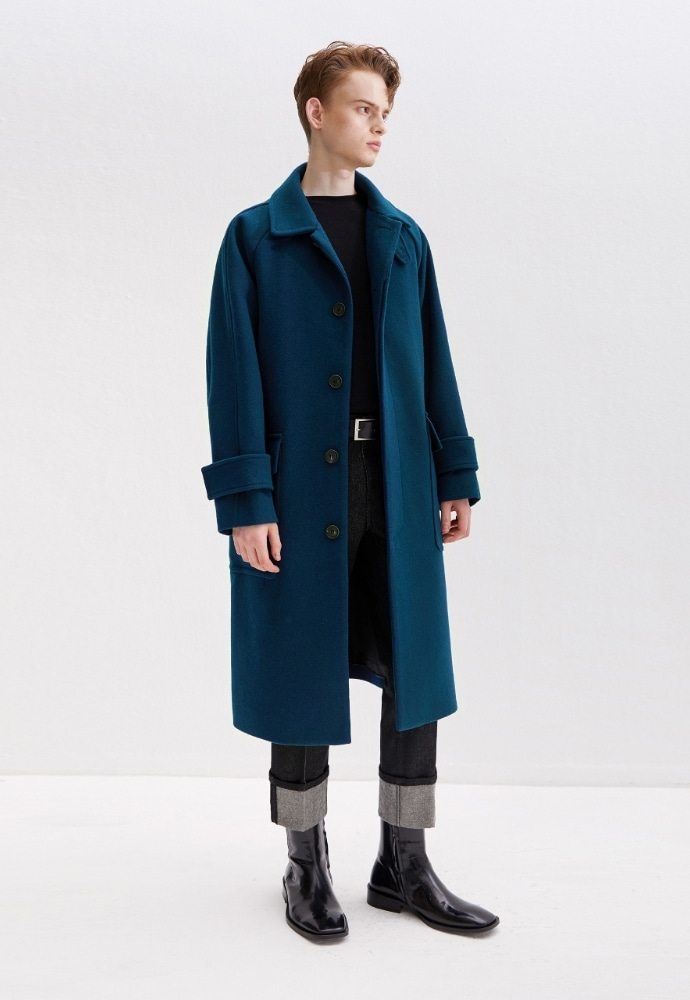 Garment lable가먼트레이블 Over Mac Coat - Blue Green