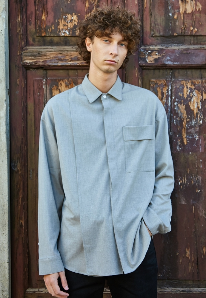 Garment lable가먼트레이블 Addition Over Shirt - Grayish Beige