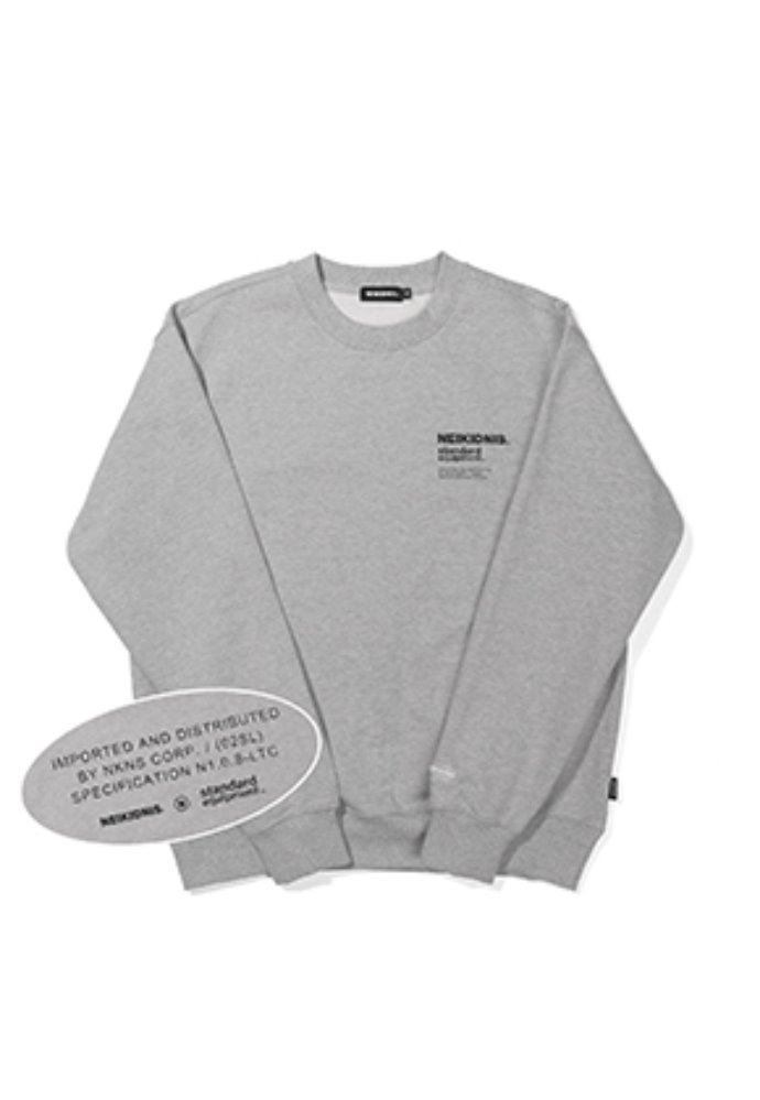 NEIKIDNIS네이키드니스 [기모] SPEC LOGO SWEAT SHIRT / GRAY