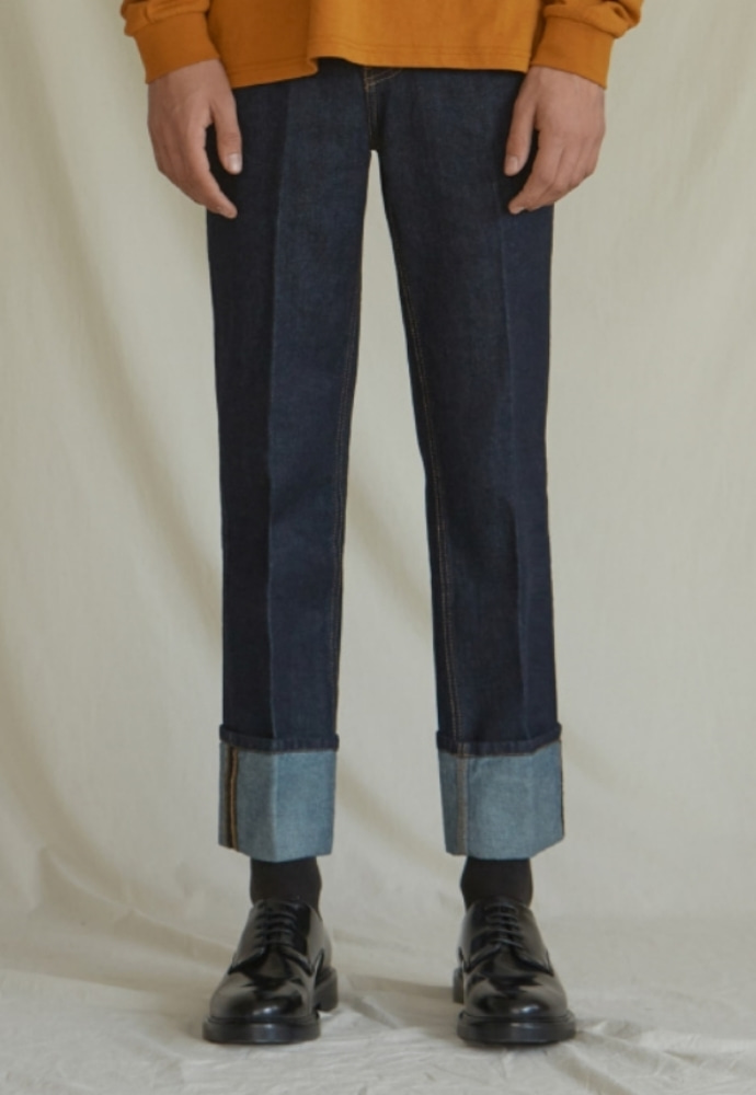 Garment lable가먼트레이블 Denim Roll-up Pants - Navy