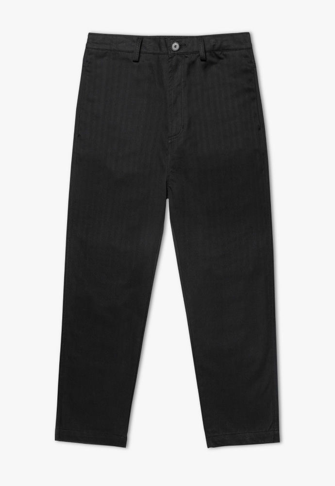 Garment lable가먼트레이블 Herringbone Cotton Pants - Black