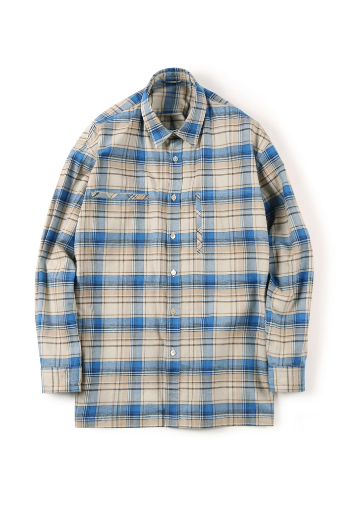 Shirter셔터 FLANNEL OVER BOX SHIRT CHECK BLUE