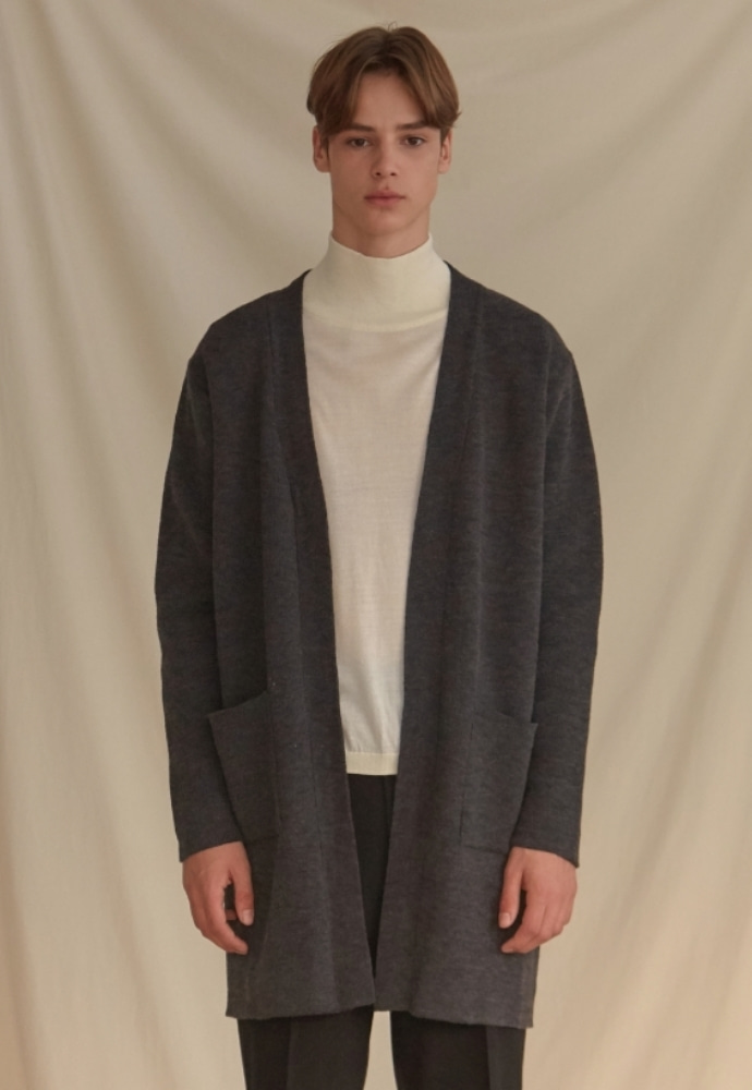 Garment lable가먼트레이블 Basic Knit Cardigan - Charcoal