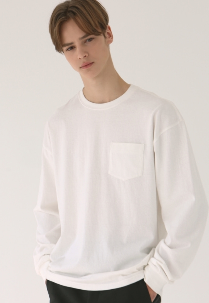 Garment lable가먼트레이블 GL Long Sleeve Tee - White