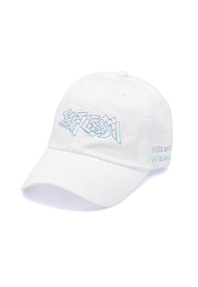Stigma스티그마 DOTTED LINE WASHED BASEBALL CAP WHITE