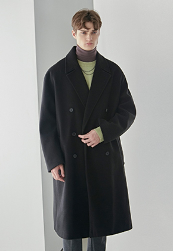 Yan13얀써틴 WOOL DOUBLE BREAST LONG COAT_BLACK