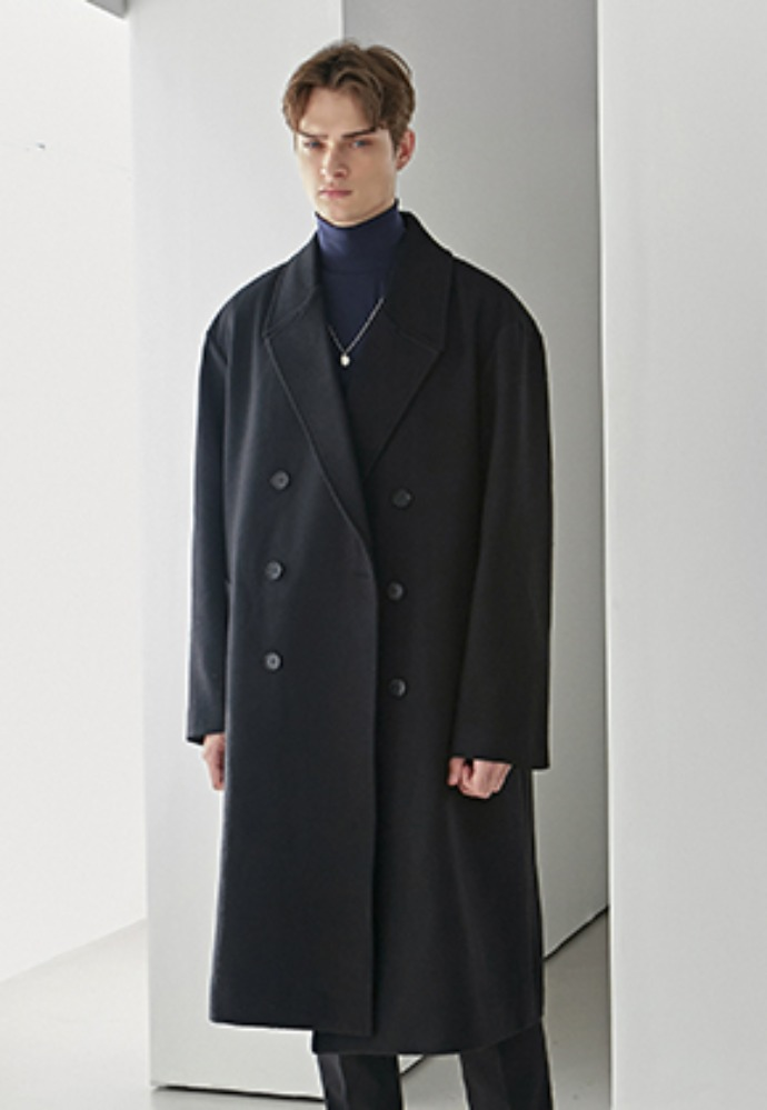 Yan13얀써틴 PREMIUM WOOL DOUBLE LONG COAT_BLACK