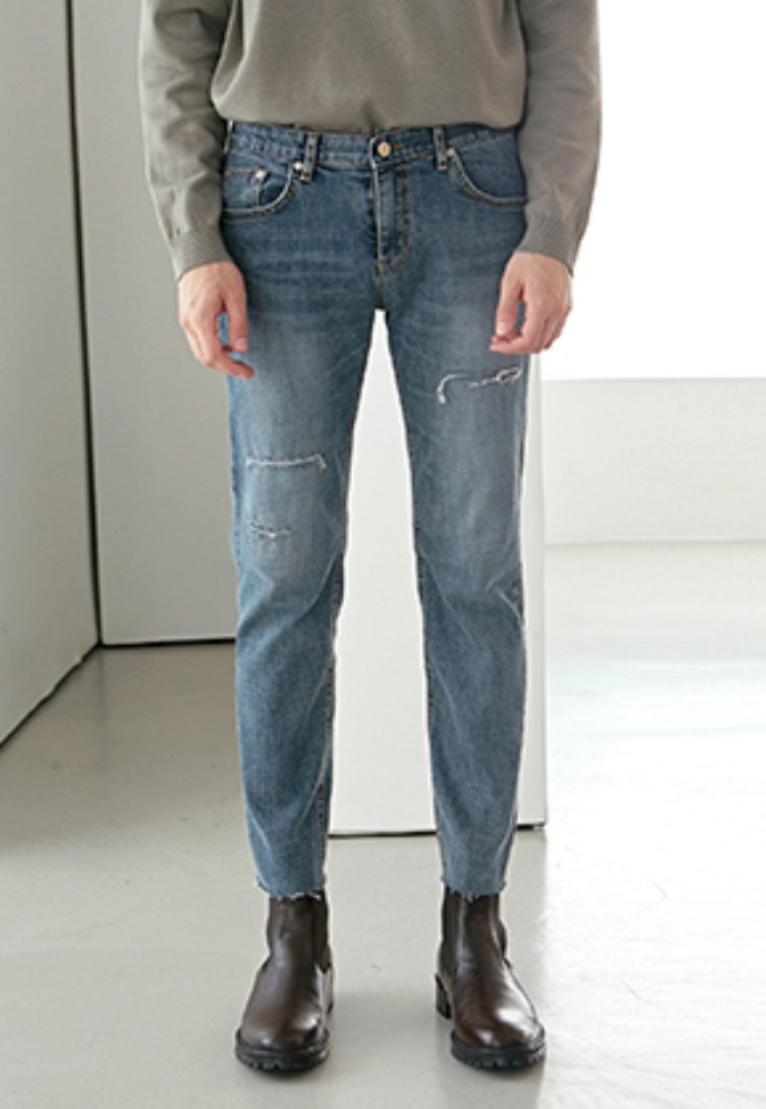 Yan13얀써틴 REAL BRUSH SLIM TAPERED JEAN_DENIM