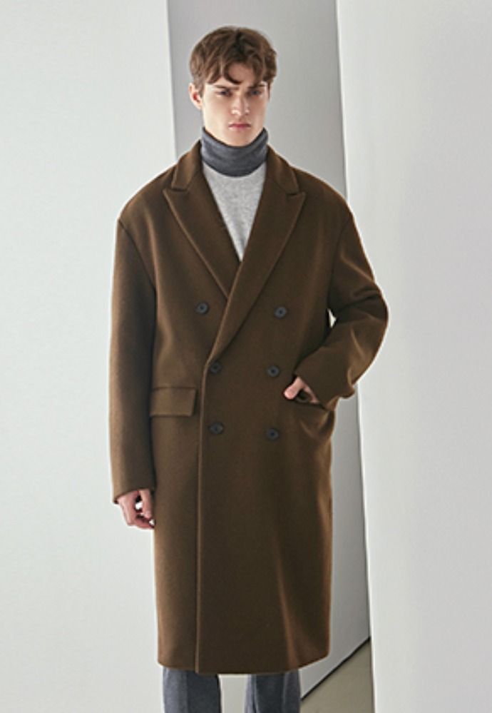 Yan13얀써틴 PEACKED WOOL LONG COAT_OLIVE KHAKI