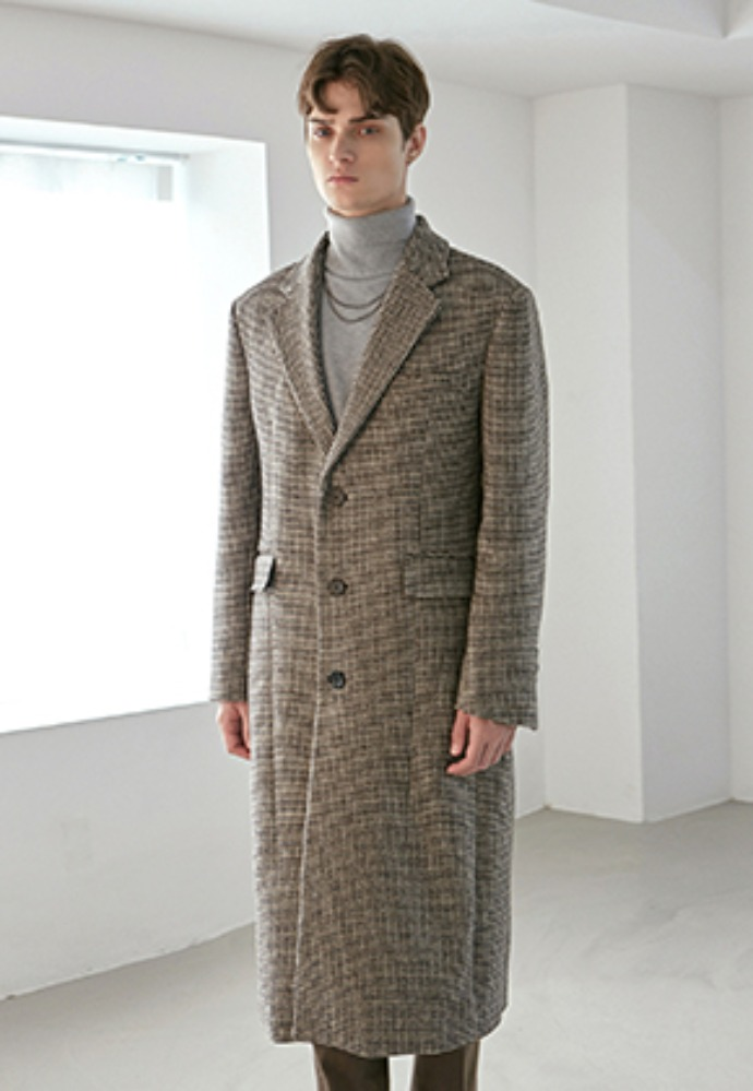 Yan13얀써틴 WOOL HOUND SINGLE LONG COAT_BROWN