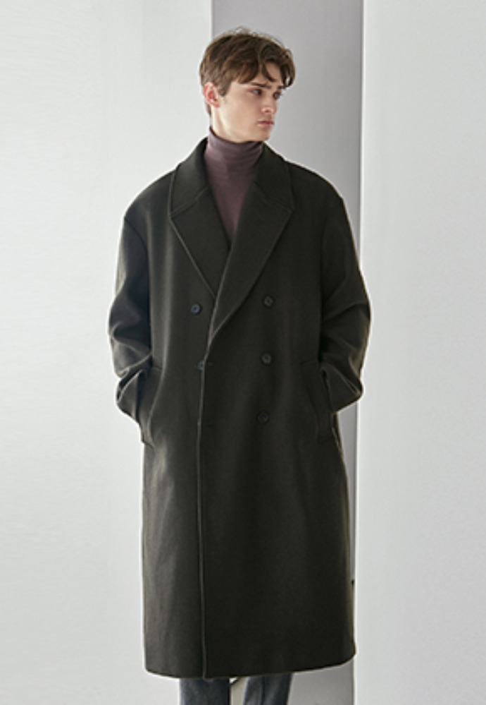 Yan13얀써틴 PREMIUM WOOL DOUBLE LONG COAT_KHAKI
