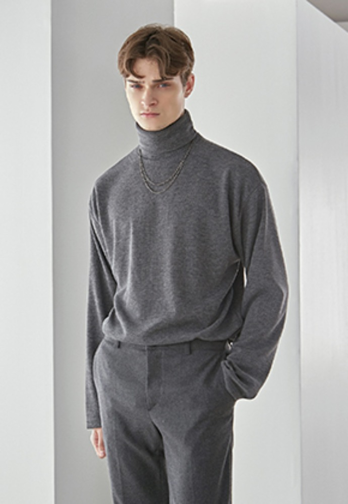 Yan13얀써틴 FOLD HIGH NECK KNIT_CHARCOAL