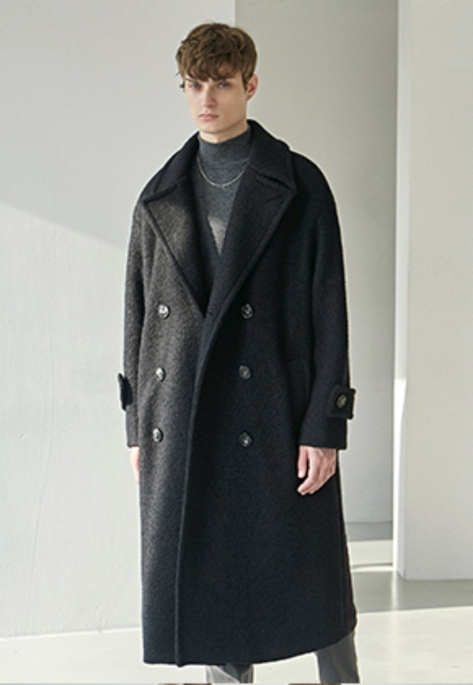 Nicknnicole닉앤니콜 TERRY WOOL DOUBLE LONG COAT_BLACK