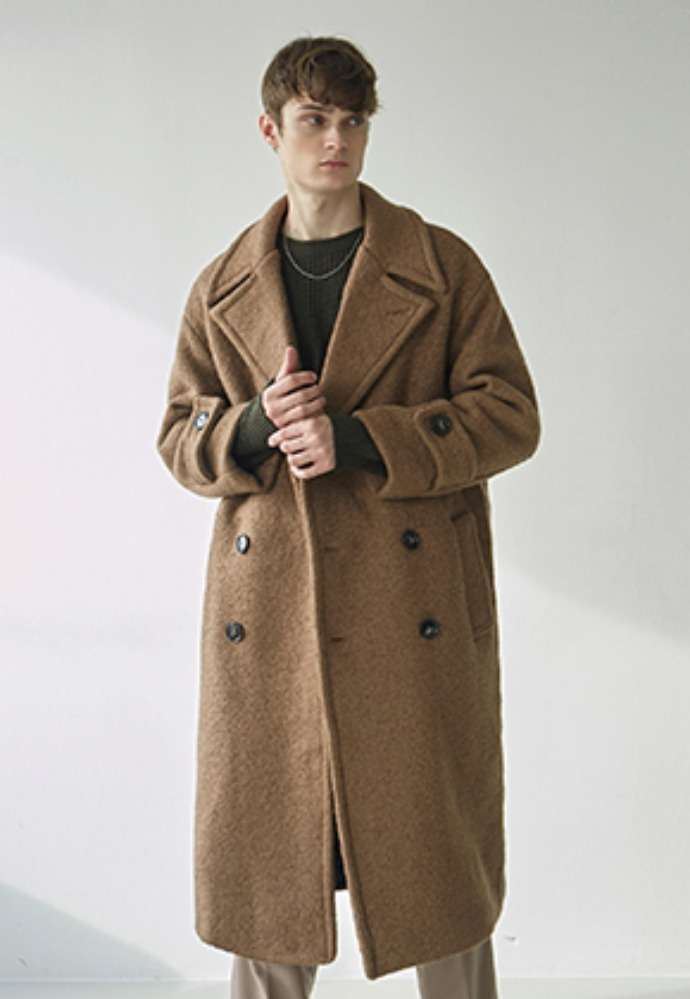 Nicknnicole닉앤니콜 TERRY WOOL DOUBLE LONG COAT_CAMEL