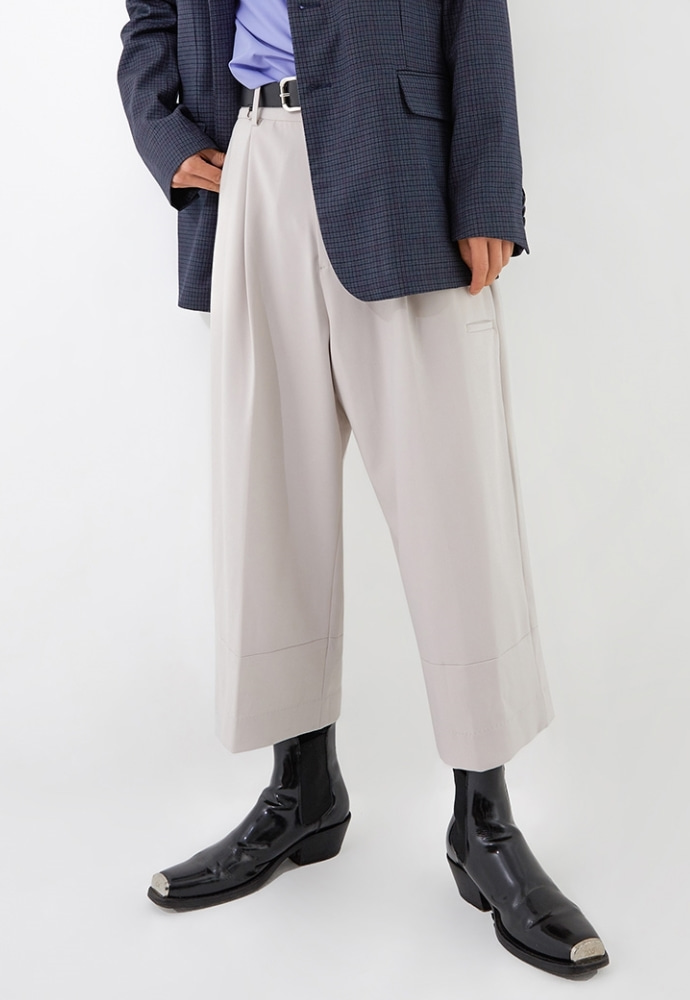 ADDOFF애드오프 Jet Pocket Wide Slacks - Light Gray