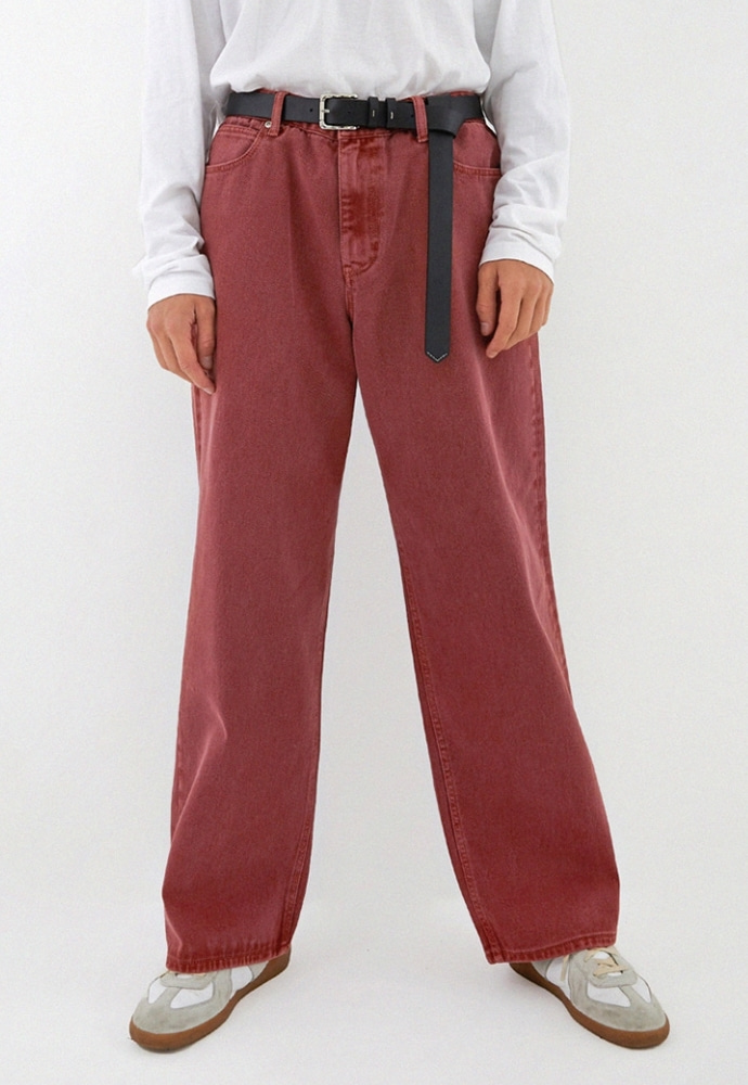 ADDOFF애드오프 Newtro Wide Denim Pants - Cranberry