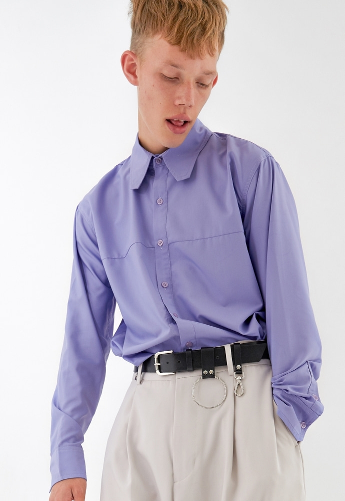 ADDOFF애드오프 Square Collar Shirt - Purple