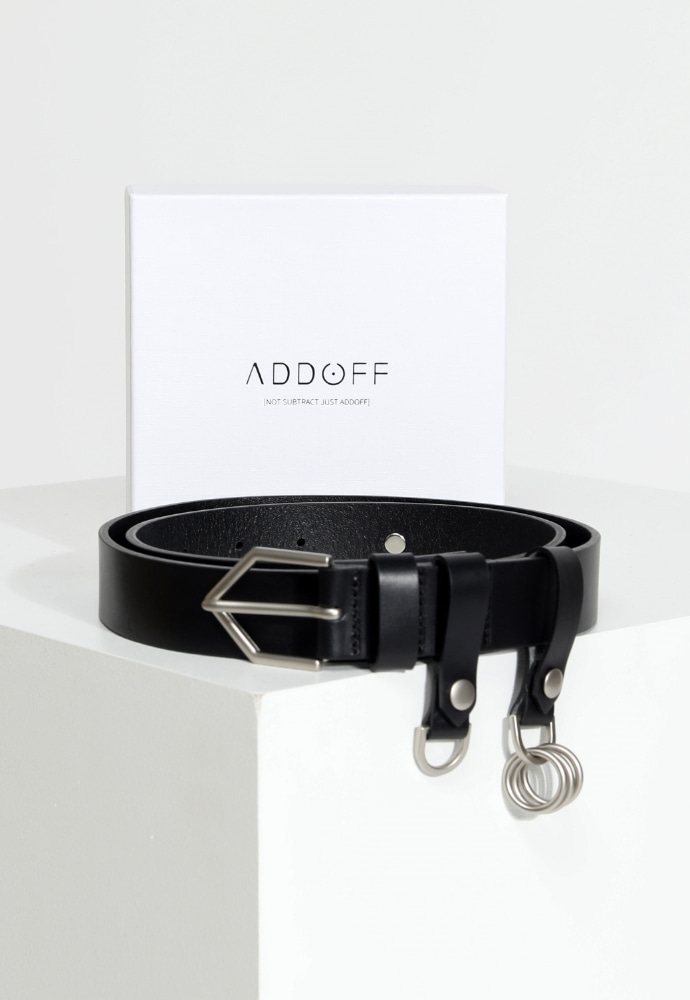 ADDOFF애드오프 Oblique Line Stitch Belt - Black
