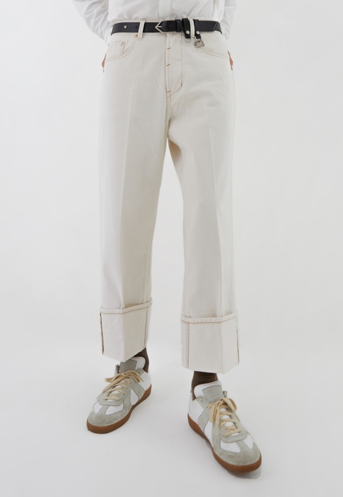 ADDOFF애드오프 Turn Up Wide Denim Pants - Off White