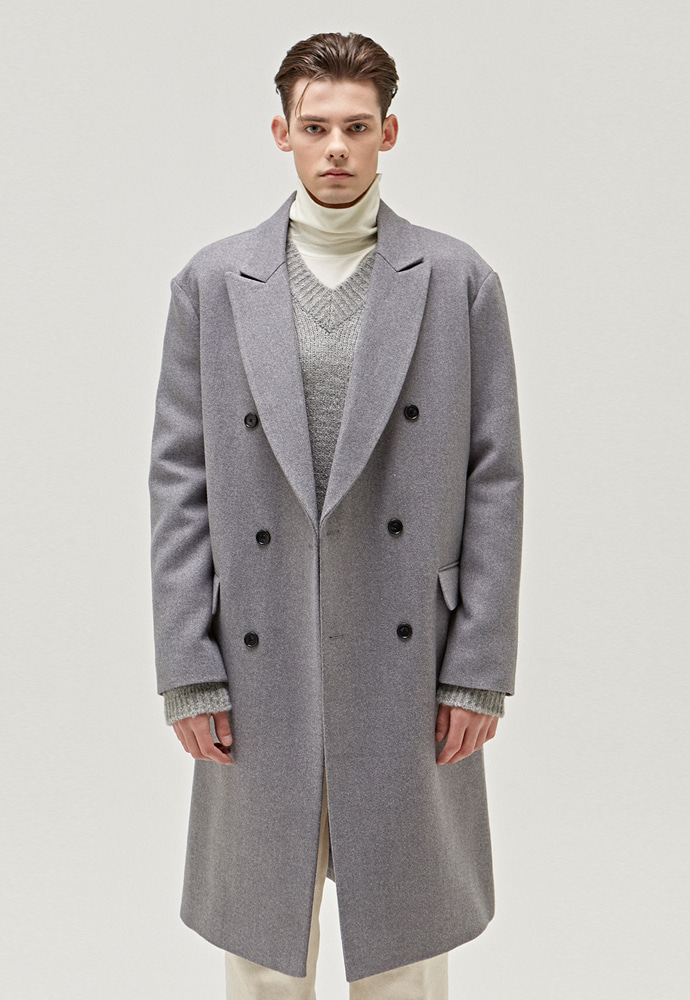 A.GLOWW에이글로우 TAILORED WOOL DOUBLE LONG COAT_GREY