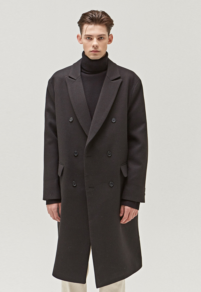 A.GLOWW에이글로우 TAILORED WOOL DOUBLE LONG COAT_BLACK