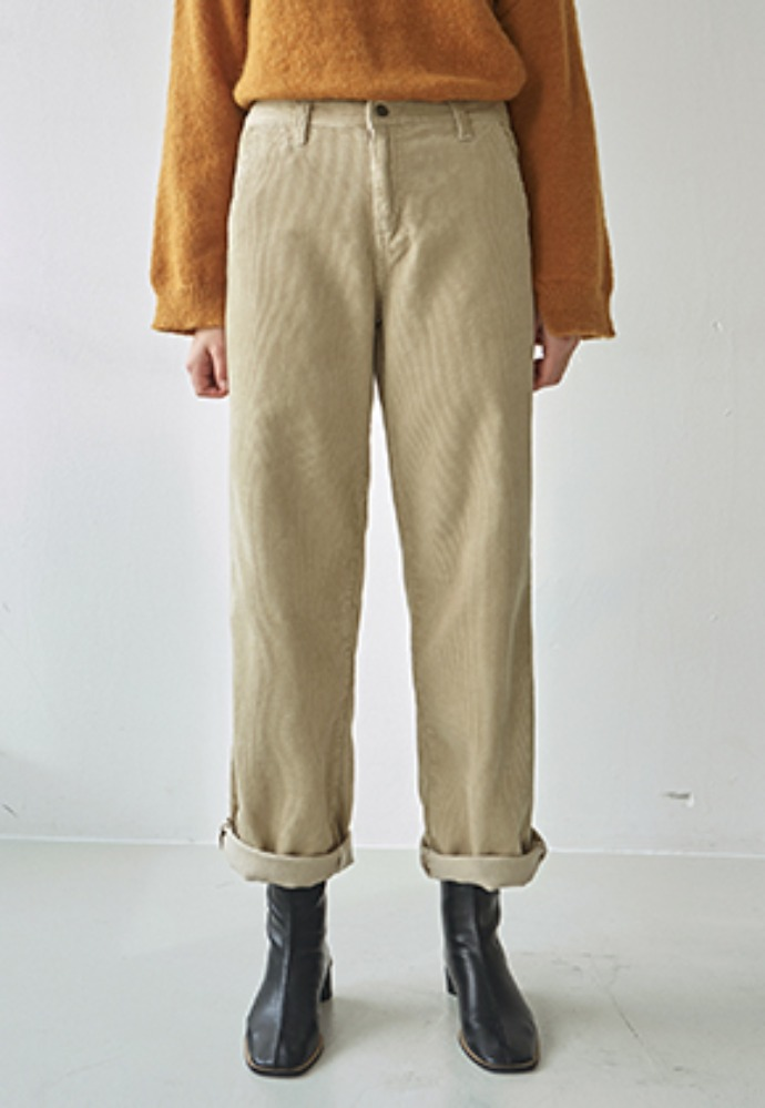 Nicknnicole닉앤니콜 CORD HIGH WIDE PANTS_LIGHT BEIGE