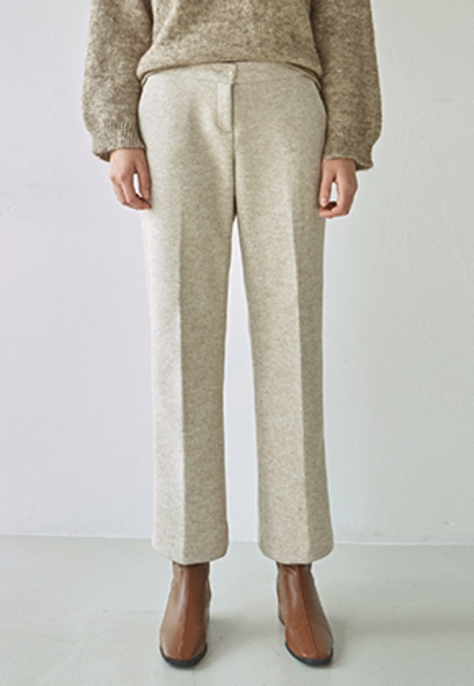 Nicknnicole닉앤니콜 WOOL WIDE LONG SLACKS_OATMEAL