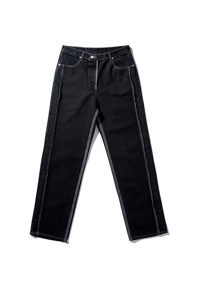 NOMANUAL노메뉴얼 19 REVERSED DENIM PANTS - BLACK