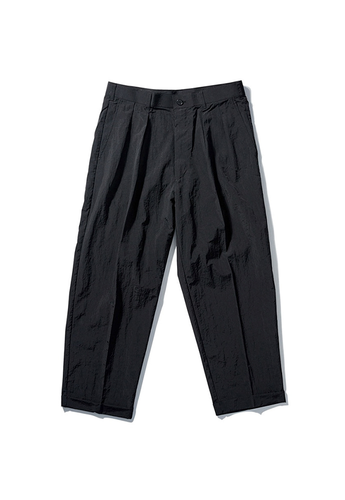 NOMANUAL노메뉴얼 NYLON SET-UP PANTS - BLACK