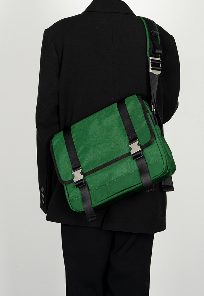 HAH ARCHIVE하 아카이브 2BUCKLE GREEN NYLON SHOULDER MESSANGER BAG