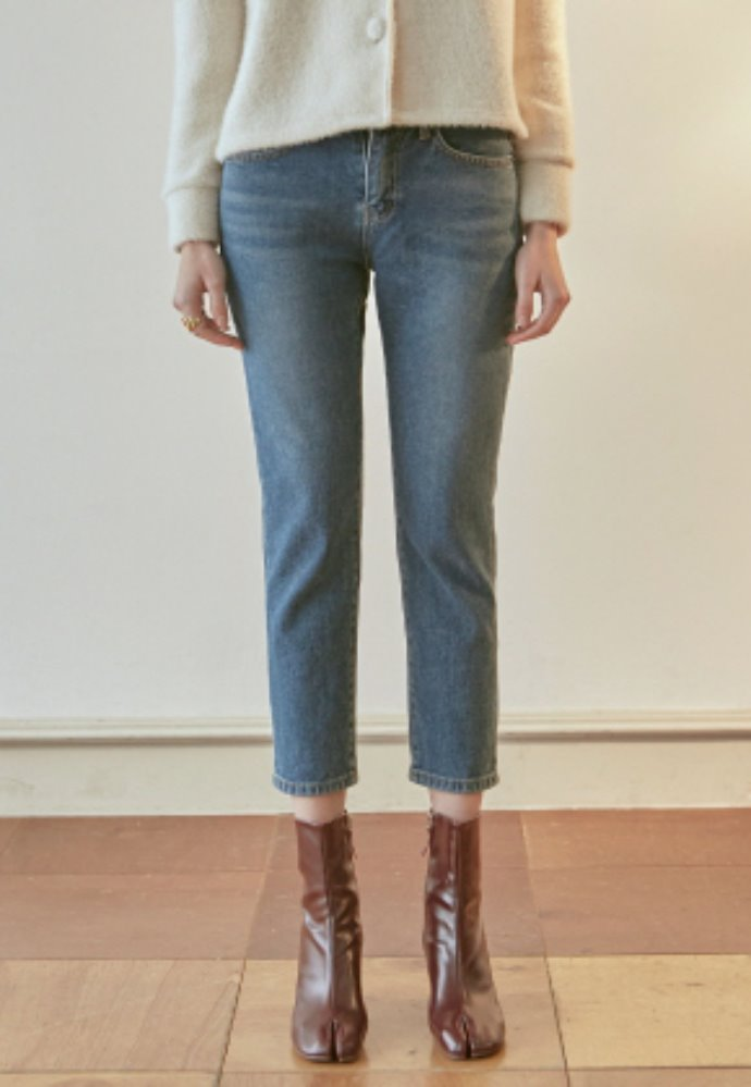 Nicknnicole닉앤니콜 SLIM TAPERED CROP JEAN_DENIM