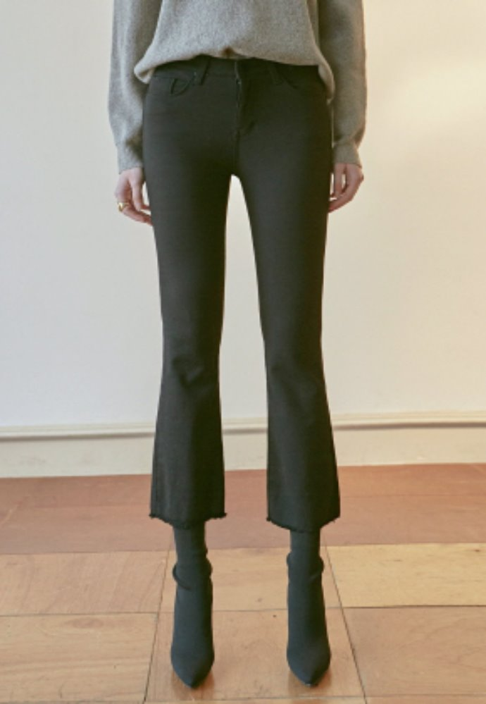 Nicknnicole닉앤니콜 SLIM BOOTCUT COTTON PANTS_BLACK