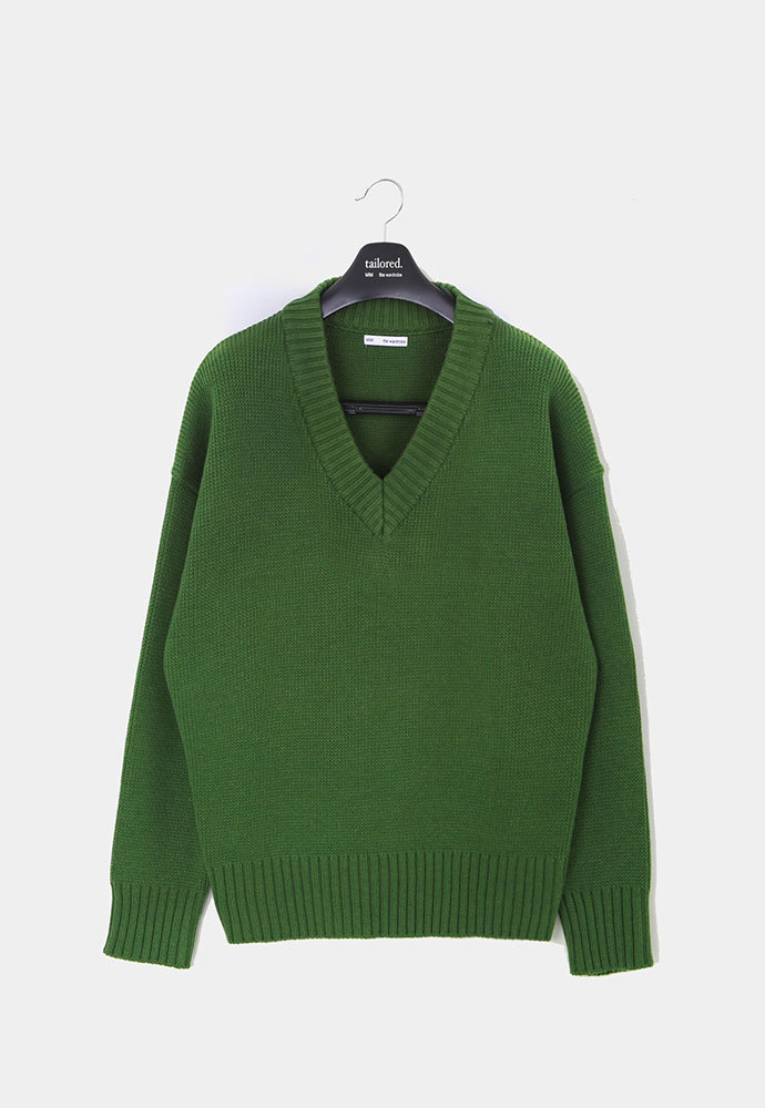 MIM THE WARDROBE밈더워드로브 ELI Royal Cotton Oversized V-neck Knit_Royal Green