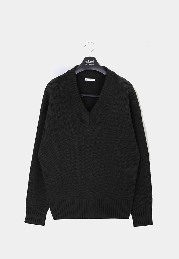MIM THE WARDROBE밈더워드로브 ELI Royal Cotton Oversized V-neck Knit_Jet Black