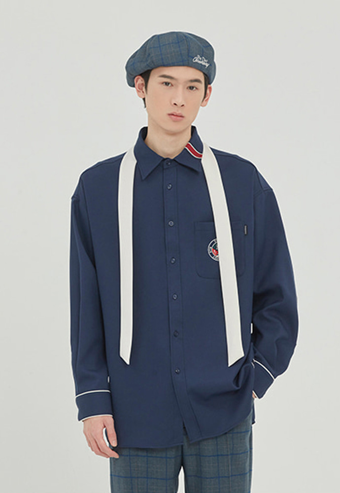 Romantic Crown로맨틱크라운 PIPING TIE SHIRT_NAVY