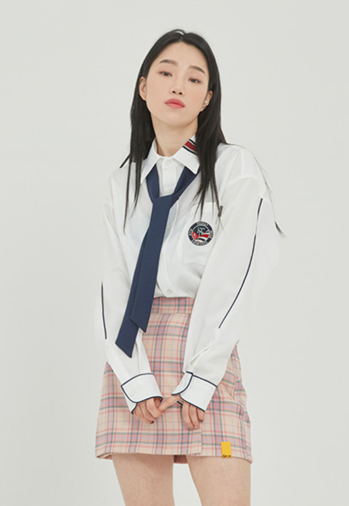 Romantic Crown로맨틱크라운 PIPING TIE SHIRT_WHITE